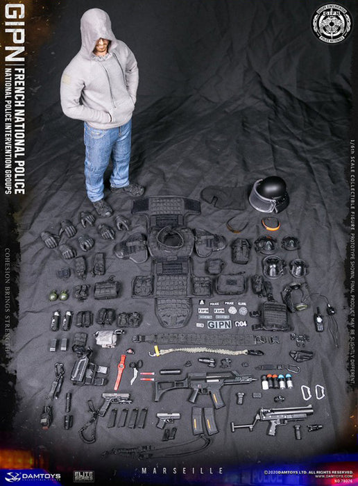 In-stock 1/6 DAMTOYS FRENCH POLICE INTERVENTION GIPN IN MARSEILLE 78076