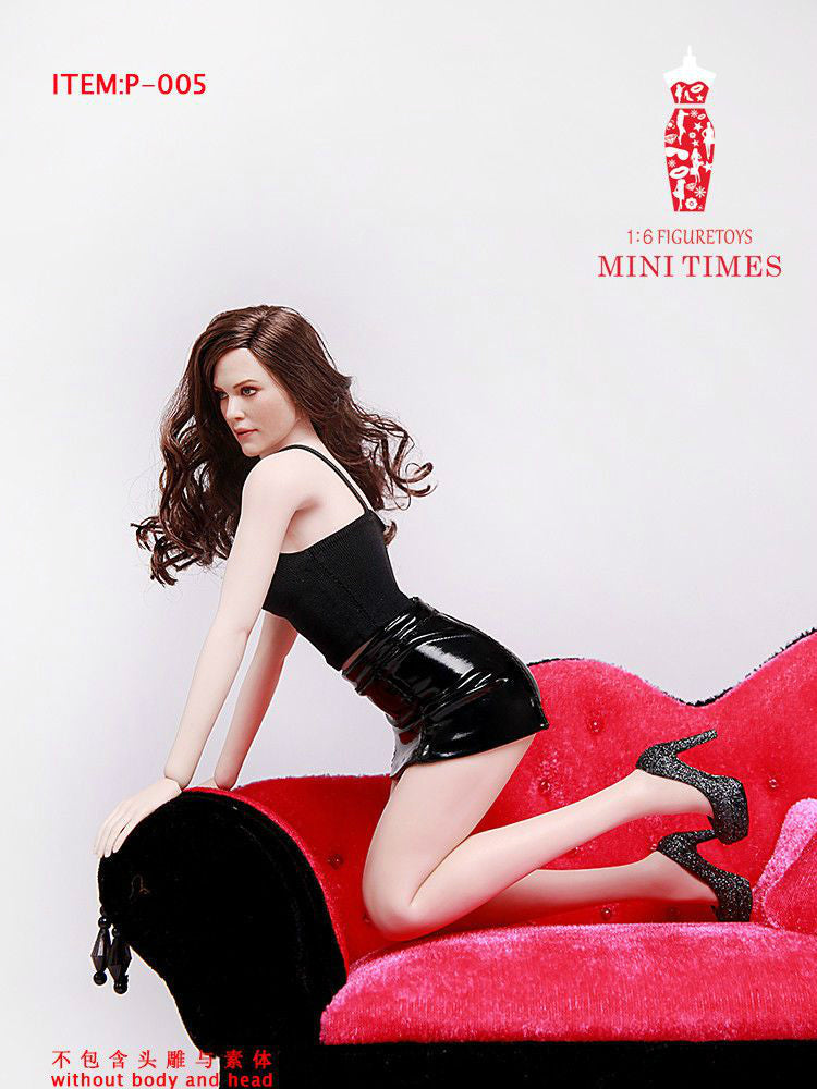 In-Stock 1/6 Scale P-005 Black Sexy Halter Bright Leather Skirt 12in Figure Suit