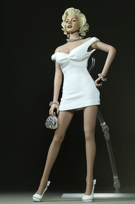 1/6  Clothes Set With Accessories For Body Mini Dress White for Marilyn Monroe