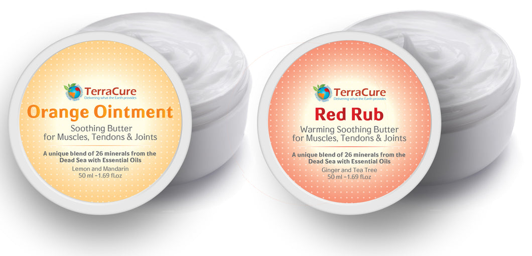 Extra strength anti inflammatory combo for knees and joint pain - 2 creams - Orange Ointment and Red Rub