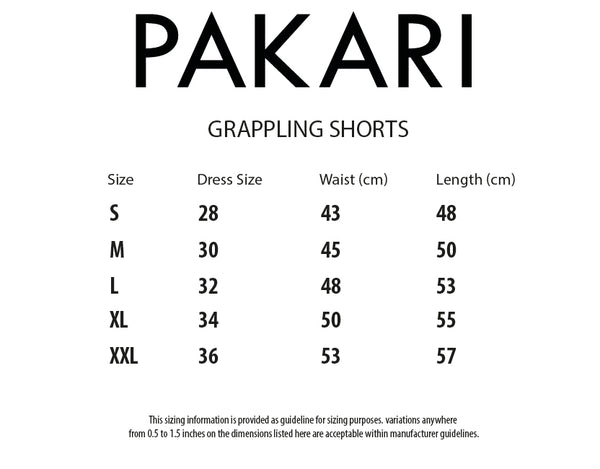 size chart Grappling shorts