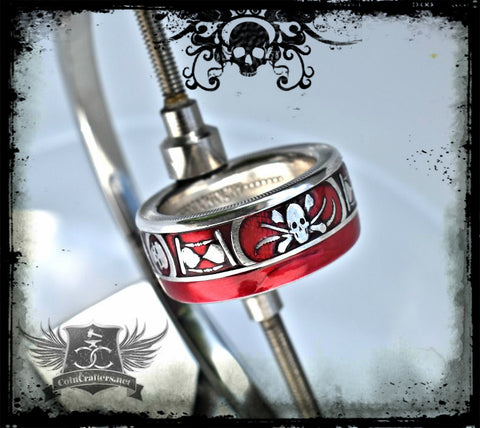 cc_Memento Mori Silver Coin Ring - Men's Skull Ring - NEW!