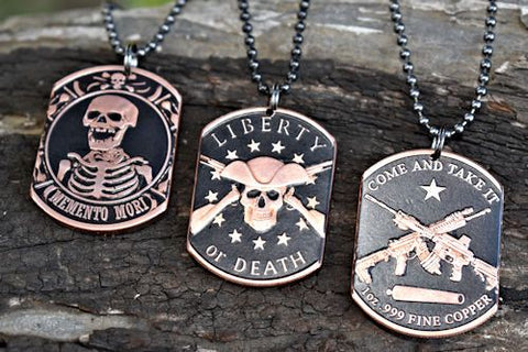 cc_Set of 3 Copper Coin Dog Tag Necklaces