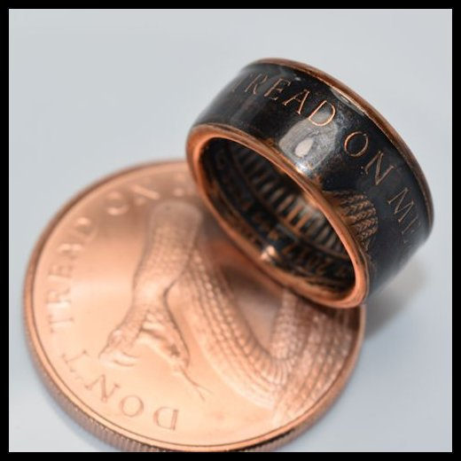 cc_Copper Coin Ring - Dont Tread On Me - Mens Ring - Mens Gift - Gadsden Flag Ring