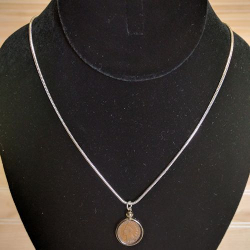Indian Head Cent Coin Necklace - Handcrafted Coin Jewelry