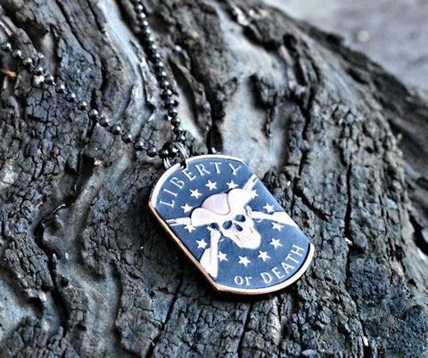 cc_Liberty or Death - Copper Coin Dog Tag Necklace