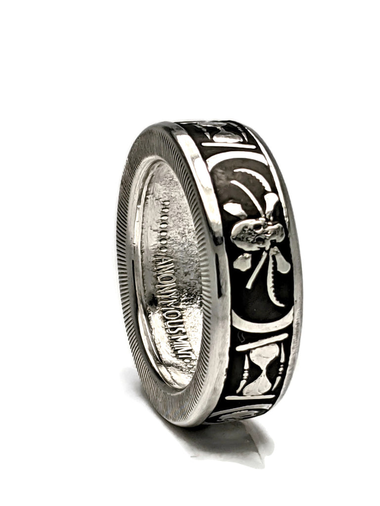 Memento Mori Silver Coin Ring - The Last Laugh - Men's Skull Ring
