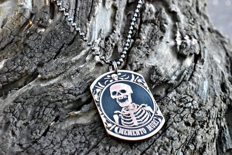 cc_Memento Mori - Copper Coin Dog Tag Necklace