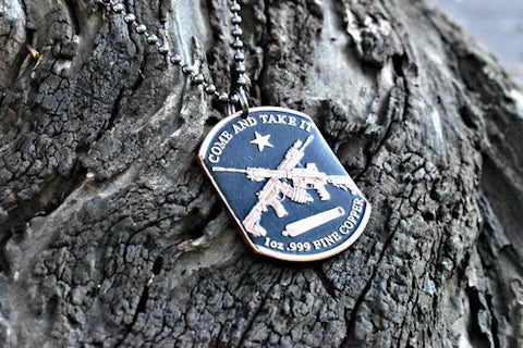 cc_Molon Labe / Come and Take It - Copper Coin Dog Tag Necklace