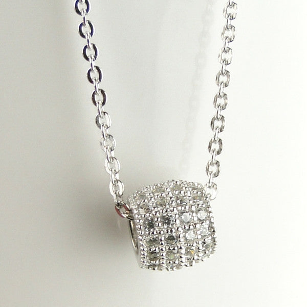 Pave Barrel Necklace