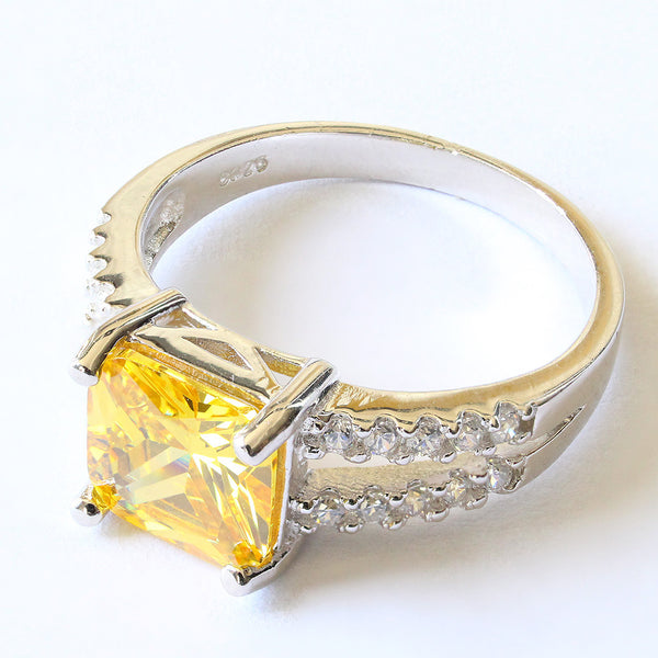 Canary Yellow Princess Cut Ring