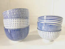Hand Painted Blue & White Dotted Lined Bowl