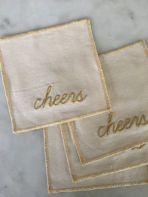 Cheers Cocktail Napkins / Coasters - Edged in Gold