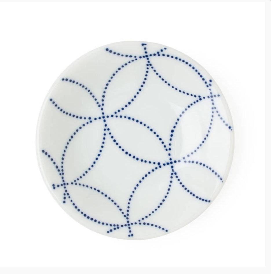 Circles Blue and White Sauce Dish