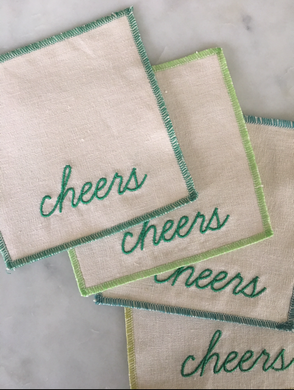 Cheers Cocktail Napkins / Coasters - Shades of Green