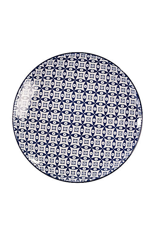 Blue & White Round Plate,  Moorish Pattern