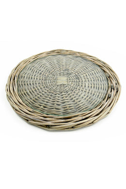 Round Wicker Serving Tray with Glass