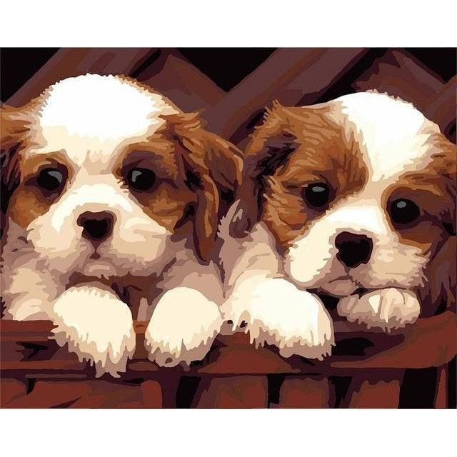 DIY Paint by Number kit for Adults on Canvas-A Pair of Puppies-40x50cm (16x20inches)