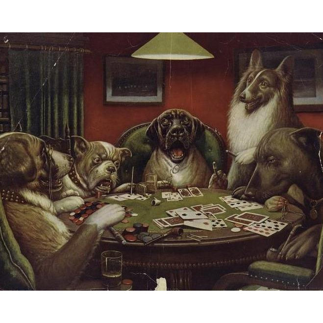 DIY Paint by Number kit for Adults on Canvas-A Waterloo Dogs Playing Poker - Cassius Marcellus Coolidge - 1906-Paint By Number