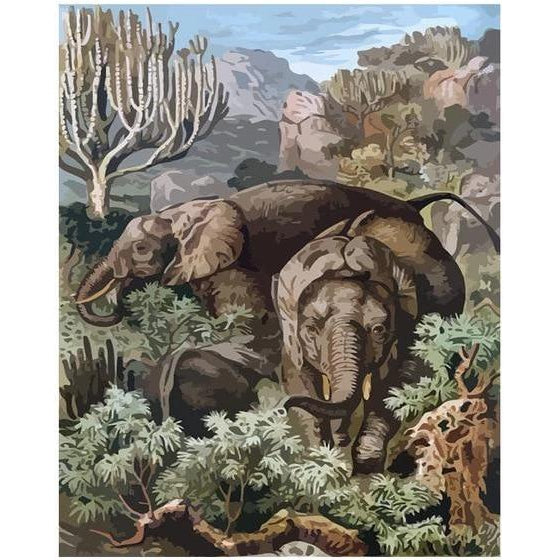 African Elephants - Paint by Numbers Kit