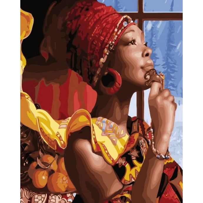 DIY Paint by Number kit for Adults on Canvas-African Princess-40x50cm (16x20inches)