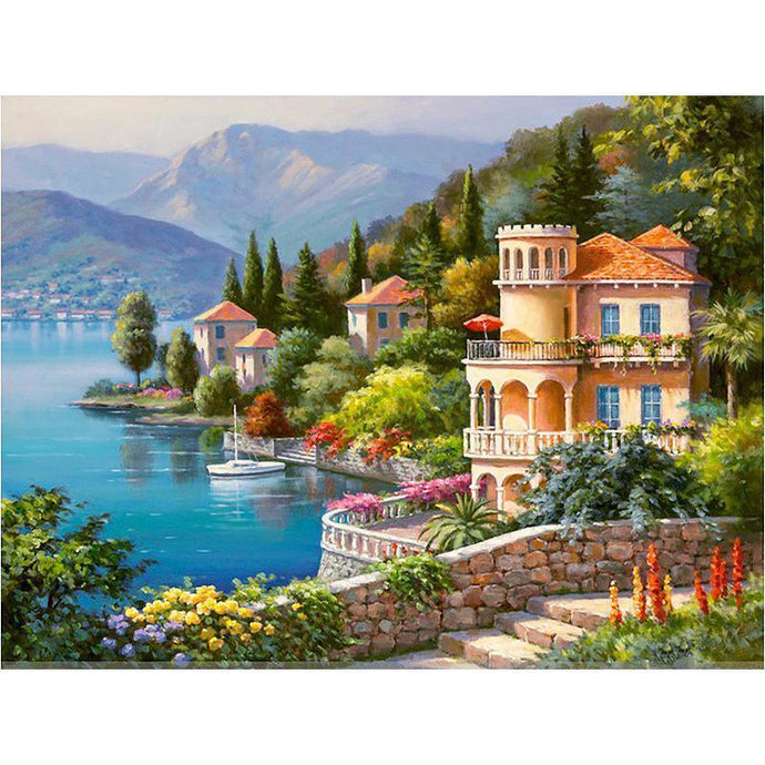 DIY Paint by Number kit for Adults on Canvas-Afternoon in Tuscany-40x50cm (16x20inches)