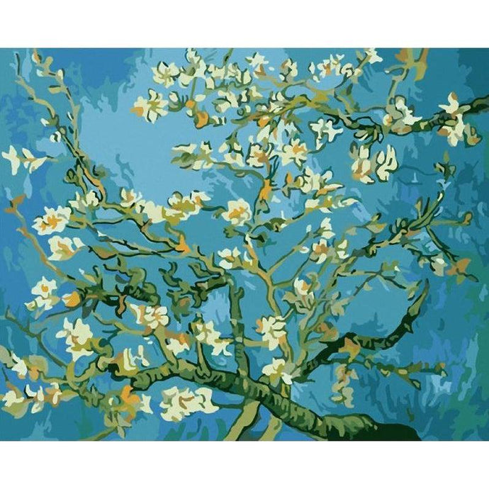 DIY Paint by Number kit for Adults on Canvas-Almond Blossoms - Van Gogh-Clean PBN