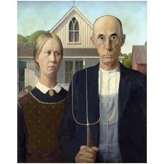 DIY Paint by Number kit for Adults on Canvas-American Gothic - Grant Wood - 1930-Painting & Calligraphy