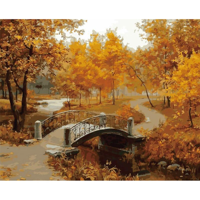 DIY Paint by Number kit for Adults on Canvas-An Autumn Bridge to Somewhere-40x50cm (16x20inches)