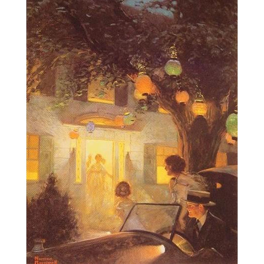 DIY Paint by Number kit for Adults on Canvas-And the Symbol of Welcome is Light - Norman Rockwell - 1920-Home