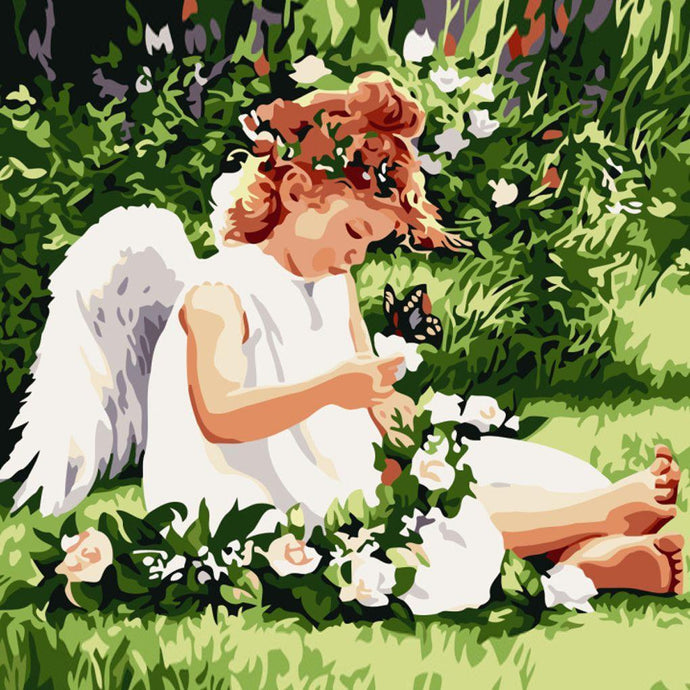 DIY Paint by Number kit for Adults on Canvas-Angel in the Garden-40x50cm (16x20inches)
