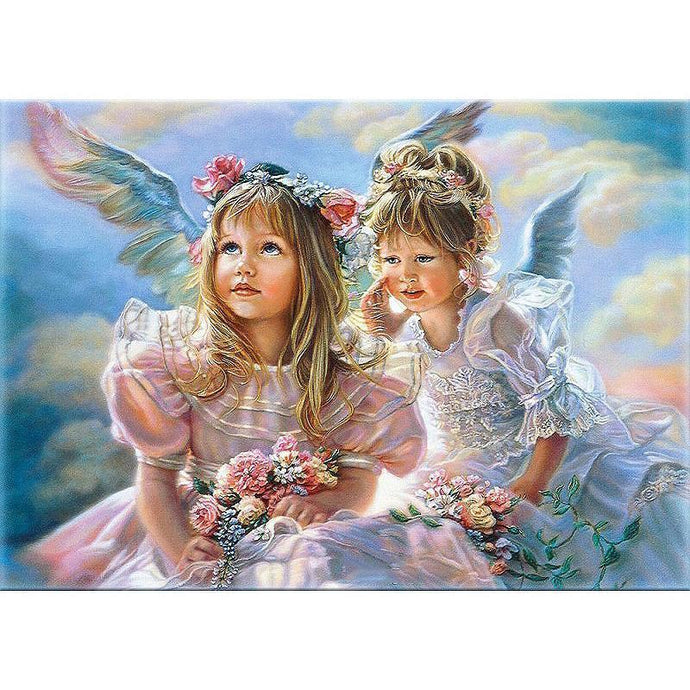 DIY Paint by Number kit for Adults on Canvas-Angel Sisters-40x50cm (16x20inches)