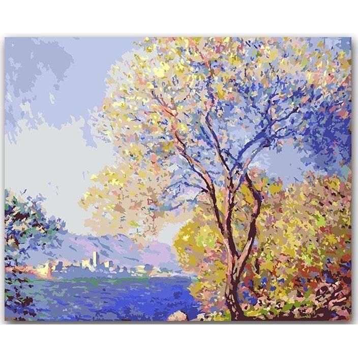 DIY Paint by Number kit for Adults on Canvas-Antibes Seen from the Salis Gardens 01 - Claude Monet-Clean PBN