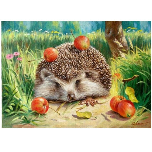 Apples on Hedgehog - Paint by Numbers Kit