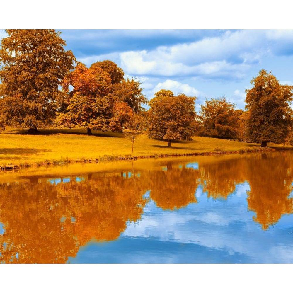 DIY Paint by Number kit for Adults on Canvas-Autumn by the Lake-Clean PBN