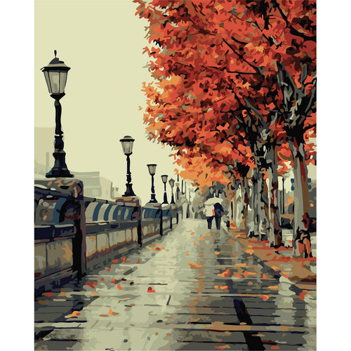 Autumn Morning Stroll by the Water - Paint by Numbers Kit