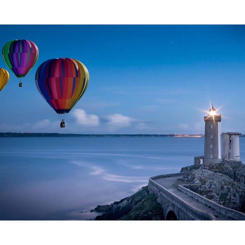 DIY Paint by Number kit for Adults on Canvas-Balloons by the Lighthouse-Paint By Number