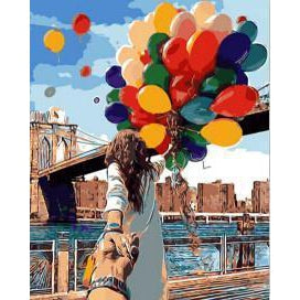DIY Paint by Number kit for Adults on Canvas-Balloons over the Brooklyn Bridge-40x50cm (16x20inches)