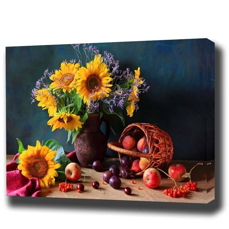 DIY Paint by Number kit for Adults on Canvas-Basket of Sunflowers-40x50cm (16x20inches)