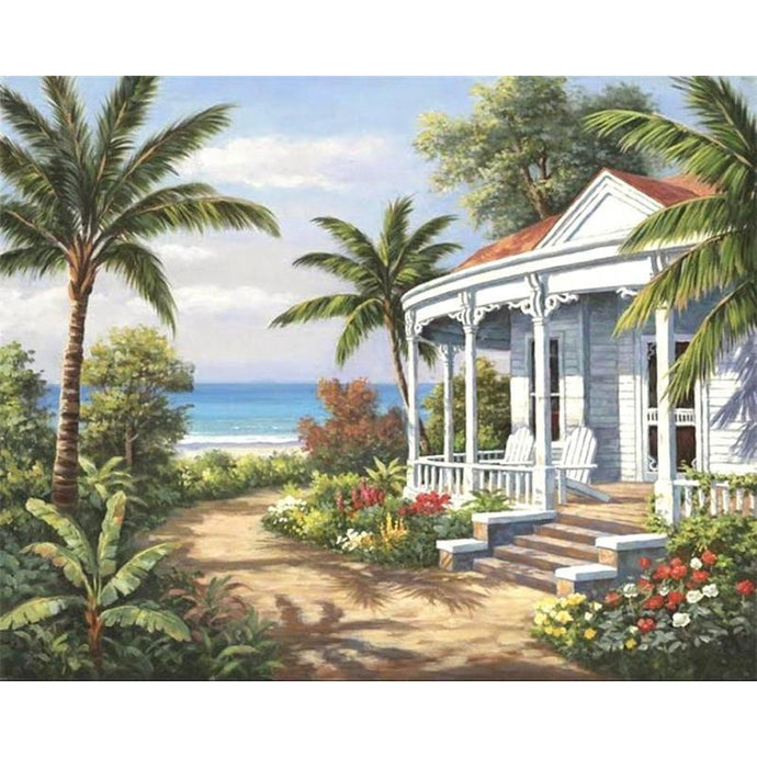 DIY Paint by Number kit for Adults on Canvas-Beach House Escape-40x50cm (16x20inches)
