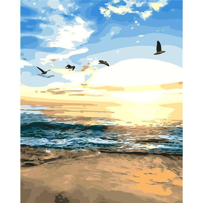 DIY Paint by Number kit for Adults on Canvas-[Ships from USA] Beach Sunset-40x50cm (16x20inches)