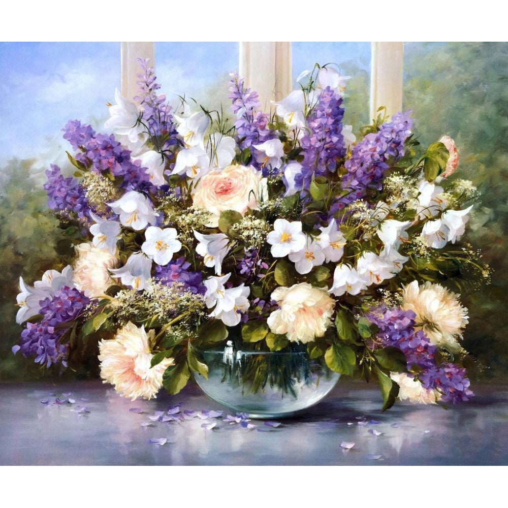 DIY Paint by Number kit for Adults on Canvas-Beautiful Flower Arrangement-40x50cm (16x20inches)