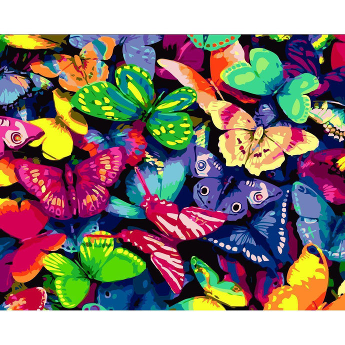 DIY Paint by Number kit for Adults on Canvas-Bed of Butterflies-40x50cm (16x20inches)