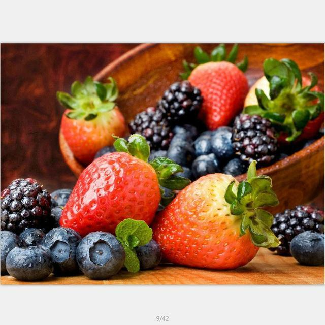 DIY Paint by Number kit for Adults on Canvas-Berry Bowl-40x50cm (16x20inches)