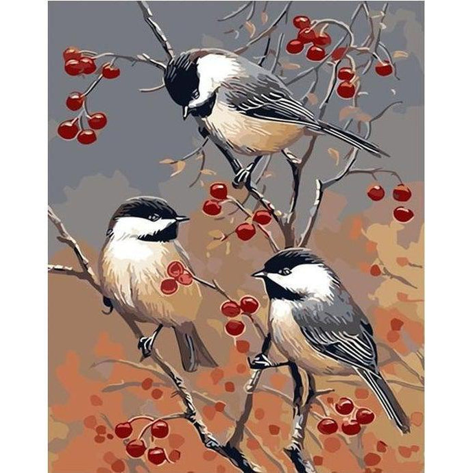 DIY Paint by Number kit for Adults on Canvas-Berry Branch Birds-40x50cm (16x20inches)