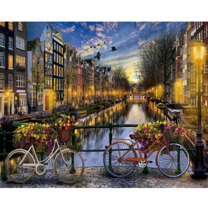 DIY Paint by Number kit for Adults on Canvas-Bicycles on the River-40x50cm (16x20inches)