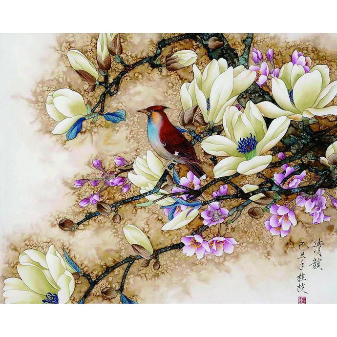 DIY Paint by Number kit for Adults on Canvas-Bird Perched on Branch-40x50cm (16x20inches)