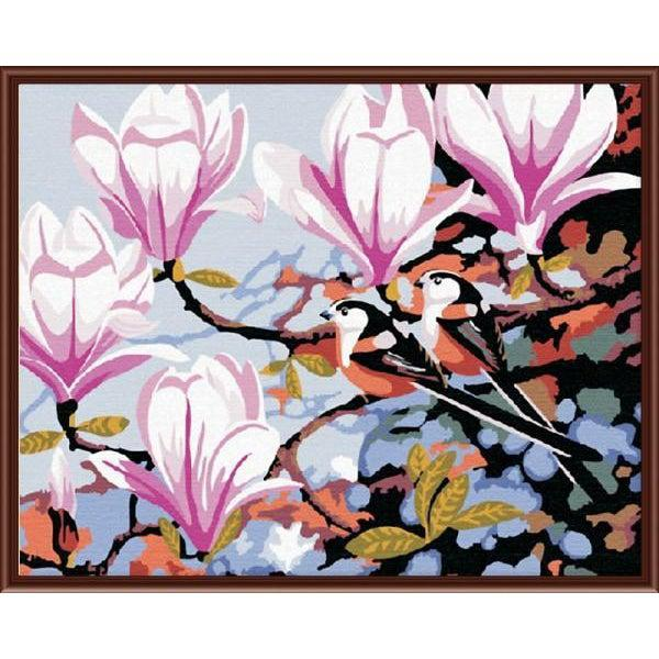 DIY Paint by Number kit for Adults on Canvas-Birds in the Magnolia Flowers-40x50cm (16x20inches)