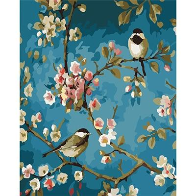 DIY Paint by Number kit for Adults on Canvas-Birds on a Branch-40x50cm (16x20inches)
