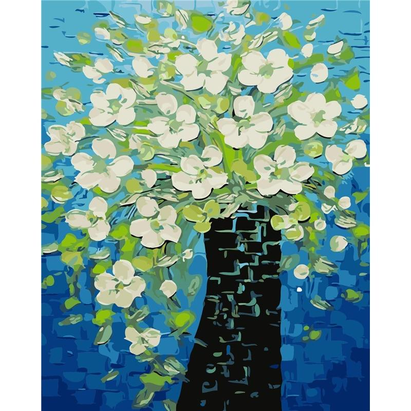 DIY Paint by Number kit for Adults on Canvas-Blooming Flowers-40x50cm (16x20inches)